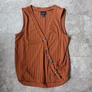 Worthington Brown Ribbed  Sleeveless Top SZ Small